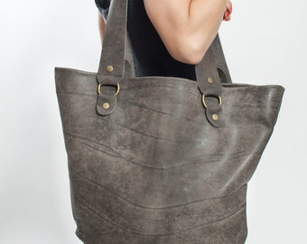 Gray Women's Leather Bag - Gray Leather Tote Bag - Shoulder Bags for women - Gray Leather Bag - Big Leather Bag -Weekend Bag -Gray Side Sack
