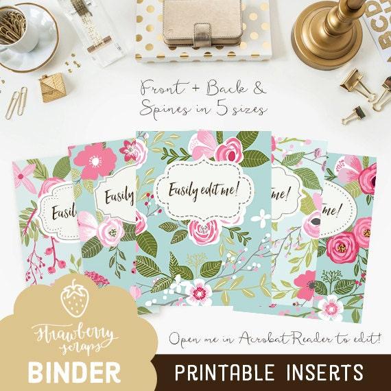 floral binder cover printable  pink  u0026 blue flowers