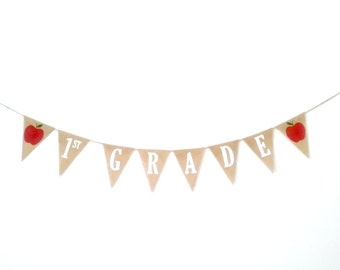 First Grade Banner First Grade Garland 1st Grade Banner Back to School Banner Classroom Decor Apple Banner Decor Apple School Banner