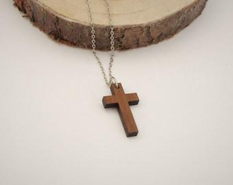 Wooden Cross Necklace   Laser Cut Wooden Jewellery