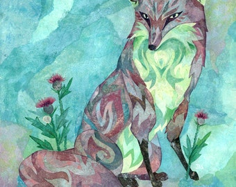 Fox with Thistles - Mixed Media Collage Art Print