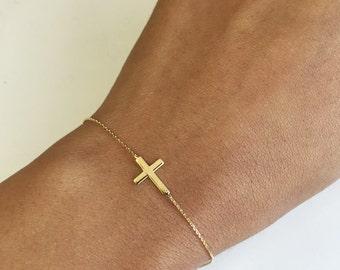14K Gold Delicate Sideways Cross Bracelet
