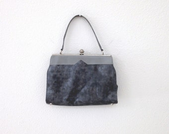 1950s Marbled Grey Vinyl Handbag