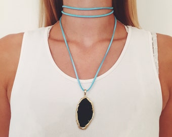 Teal Suede/Gold Electroplated Agate Pendant 'Wrap It Your Way' Necklace