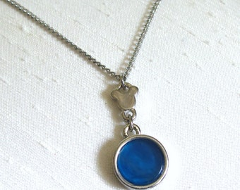 Blue Agate Mickey Mouse Pendant Necklace ~  Round Pendant Necklace ~ Adjustable 16 - 19 inches