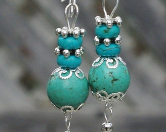 Turquoise Semi Precious Stone Dangle Earrings ~ Healing Stones ~ Boho Jewellery ~ Bohemian Earrings ~ Birthday Gift ~ Anniversary Present