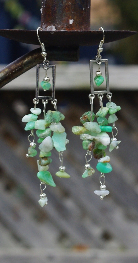 Green Opal Chandelier Earrings ~ Natural Opal Stones ~ Boho Jewellery ~ Bohemian Style ~ Opal Stone Earrings ~ Earth Day Gift ~ Gift for Mom