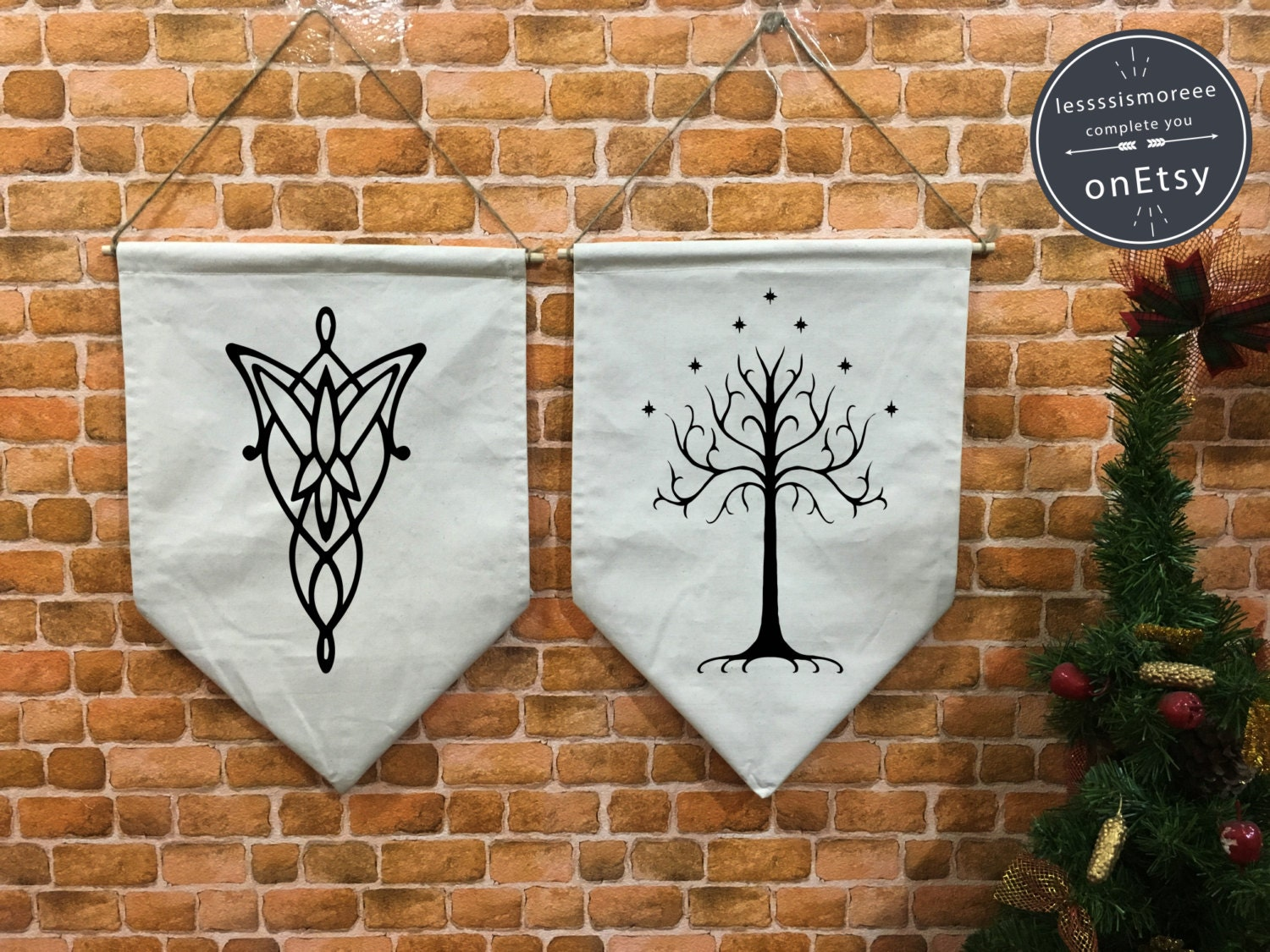 evenstar lotr wedding ring Arwen Evenstar Aragorn White Tree of Gondor banner flag and hanging device lord of the rings wedding wall hanging decoration Wedding gift