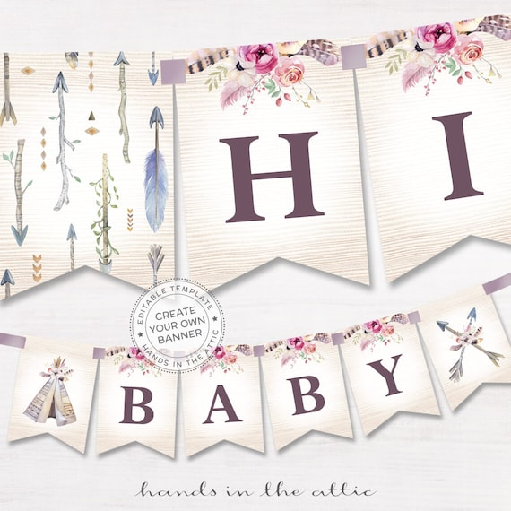 Diy Wedding Word Banners: Boho Alphabet Banner Printable, Baby Shower Decor