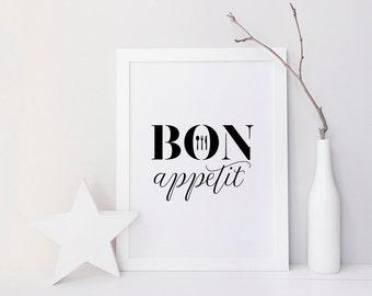 Bon Appetit - Printable Poster - Typography Print Black & White Wall Art Poster Print - Kitchen, Dining Room