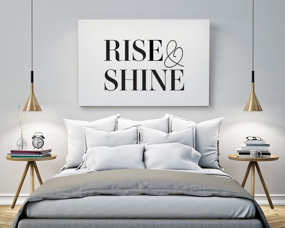 printable poster rise and shine typography print black. Black Bedroom Furniture Sets. Home Design Ideas