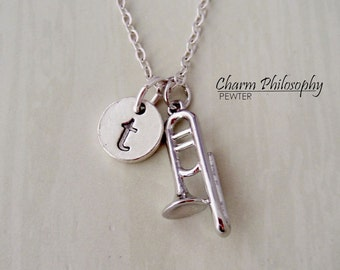 Trombone Necklace - Instrument Charm - Silver Band Jewelry - Personalized Monogram Initial Charm