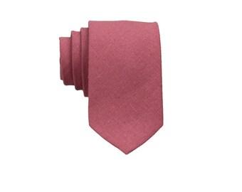 Ruby Pink Linen Ties. Mens Tie.Ruby Pink Skinny Tie.