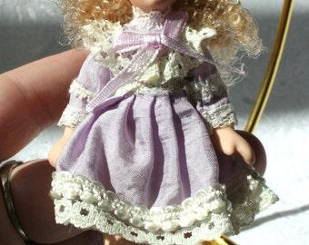 Vintage Victorian Doll Christmas Ornament, Lavender Victorian Doll Ornament, Victorian Doll Decor, Porcelain Doll Ornament, Victorian Decor