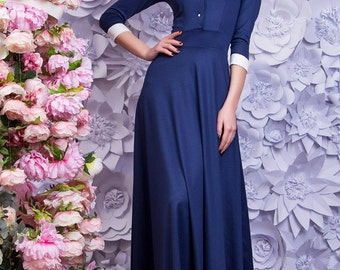 Navy blue long dress/Maxi dress/sleeves dress/16 colours