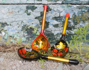 Wooden Spoons - Hand Painted Spoons - Vintage Russian Spoons Khokhloma Set of 3 - Folk Art - Souvenir Spoons - Soviet Home Decor