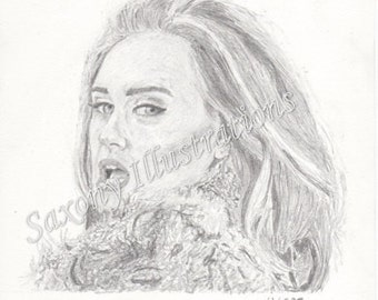 LIMITED EDITION PRINT: Adele Pencil Drawing