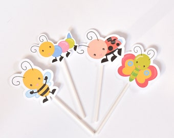 12 Lady Bug Bee Butterfly Caterpillar Cake Toppers - Baby Shower Decoration - Birthday Cake Toppers - Baby Shower Cupcakes