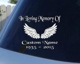 In Loving memory of decal, Wings, car decal, window decal