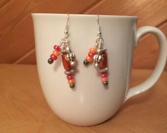 Orange Dangle Earrings; Recycled Water Bottle Beads