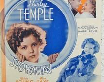 """1936 Sheet Music, Shirley Temple, Goodnight My Love, 20th Century-Fox Film """"Stowaway"""", movie memorabilia, music memorabilia"""