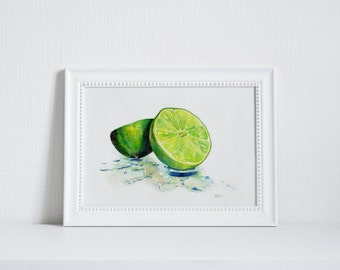 8x10 Lime Print of Original Watercolor Fine Art Fruit Painting