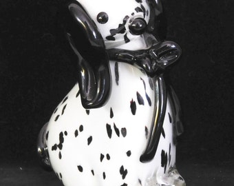 Murano glass dalmatian dog with bow