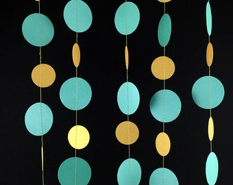 Metallic Teal and Gold Circle Garland - Gold and Teal Garland, Round Garland, Teal Blue Birthday Garland, Teal Green Garland - GC022TeMtGd