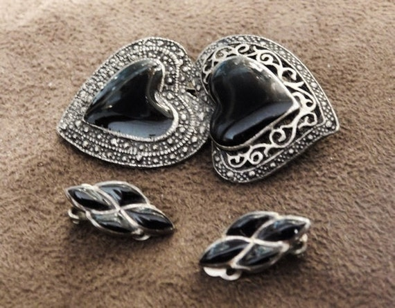 Vintage Brooch and Clip On Earrings Set Black Onyx Sterling Earrings Black Plastic Double Heart Filigree Brooch Artisan Hand Crafted Jewelry