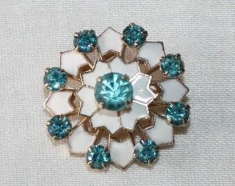 Vintage, Blue Rhinestone and White Enamel, Pinwheel Brooch