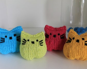 New Handmade Knitted Cat Pink Green Yellow Blue Bright Catnip Pouch Stuffed Cotton Cat Toys Pet Toys Pet Accessories Catnip Cats