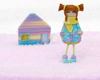 Brooches girl and house, brooch house pin brooch doll jewelry brooch doll brooch for girl jewelry house pastel colors brooches ready to ship