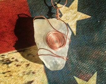 Sea Green Fluorite Pendant with Copper Wrap