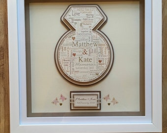 Engagement Ring Word Art Frame, Wedding Word Art, Personalised Couple Frame, Unique Engagement Gift Frame, Sentimental Engagement Gift