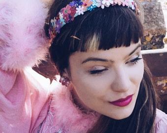 Multi-coloured  flower headband - festival / wedding / girls / womens /headdress / bridesmaid / sparkle / glitter