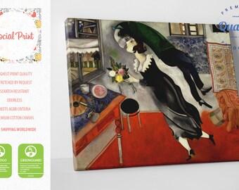 "Marc Chagall - ""Birthday"" Canvas Print FREE SHIPPING reproduction fine art gallery print Artwork Giclee decor wall, kiss canvas, birthday"