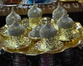 swarovesky model turkish coffe set