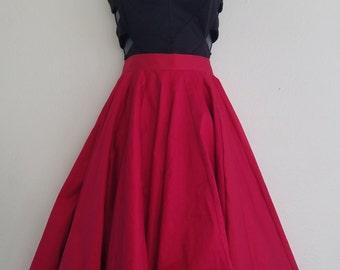 Tomato Red Full Circle Skirt
