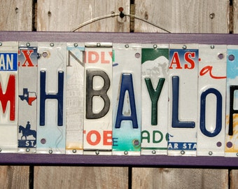 MH BAYLOR - UMHB - Mary Hardin-Baylor - Custom made License Plate sign