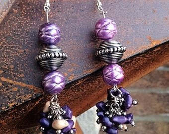 Purple Statement Earrings