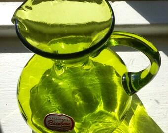 Hand Blown Olive Green Rainbow Glass Pitcher; Vintage Glass Pitcher; Rainbow Glass Pitcher; Flower Pitcher
