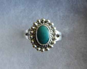 Sterling Silver Turquoise Native American Ring Sz 8