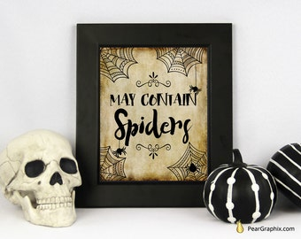 printable halloween decoration halloween wall decor halloween buffet sign spooky halloween spider