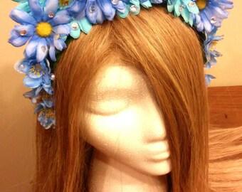 Fairy Crown, Blue, Sparkly, Floral Headband, Floral Hair Wreath, Flower Crown, Blue Flower Crown, Flower Headband, Fairy Costume, Adult