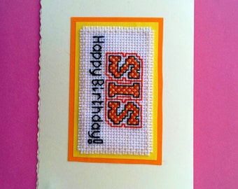 """Happy Birthday SIS Card in orange, different colours available, 10cm x 15cm (6"""" x 4"""")"""