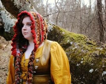 Crocheted Wizard's Hood - Red Fire Wizard