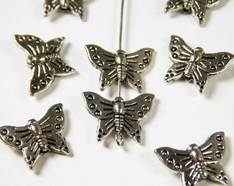 10 Pcs - 16x12mm Butterfly Spacer Beads - Tibetan Silver - Metal Spacer Beads - Jewelry Supplies