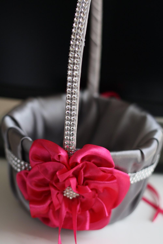 Fuchsia flower girl basket with brooch gray satin gray wedding fuchsia flower girl basket with brooch gray satin gray wedding basket with fuchsia flower mightylinksfo