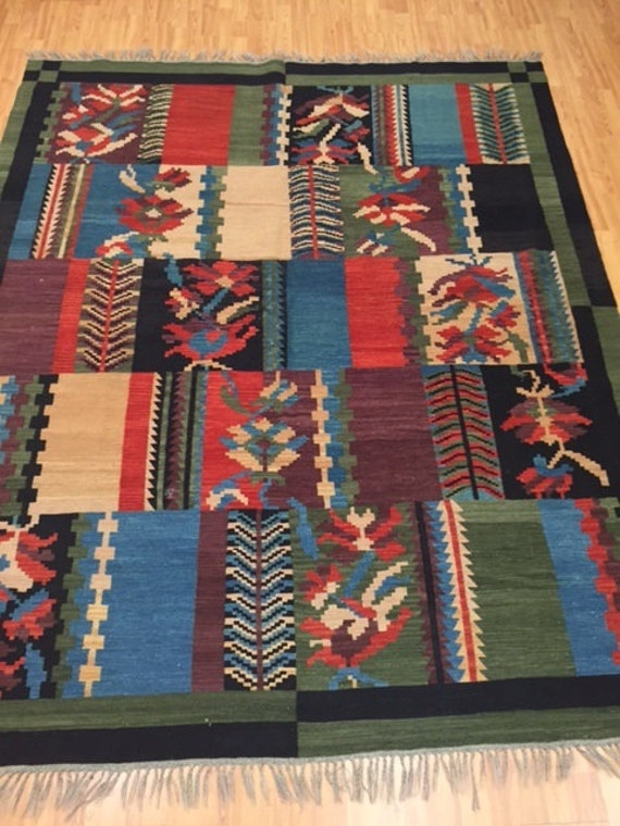 "6'10"" x 8'2"" Turkish Kilim Oriental Rug - 1980s - Hand Made - 100% Wool"