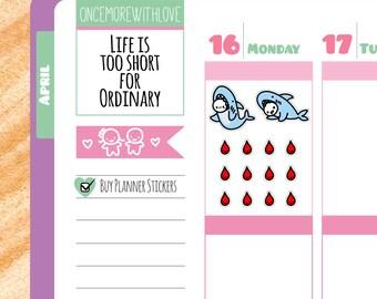 Munchkins - Shark Week Period Tracker Planner Stickers (M63)
